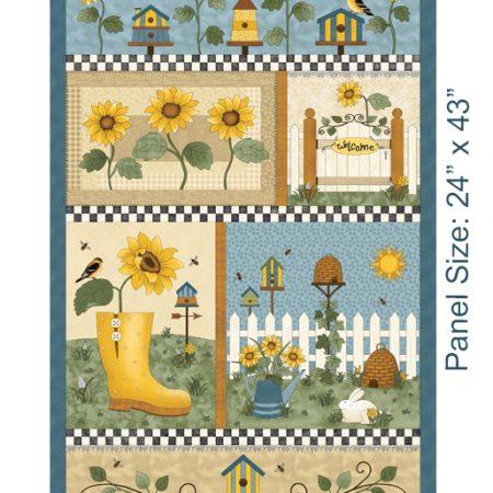 Quiltstof katoen panel Sunshine Garden 3490. Verkoop per panel