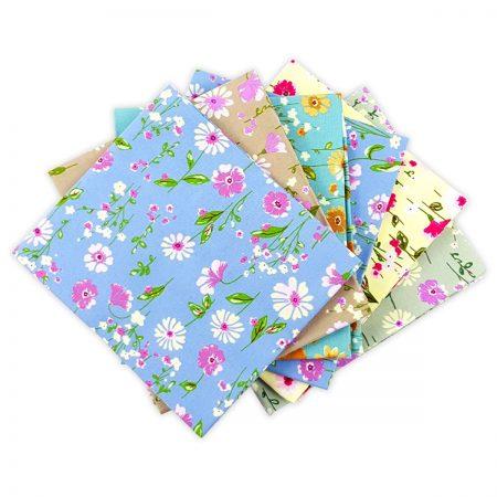 Fat quarter quiltstofpakket Lazy Daisy. Merk: Visage Textiles Ltd.