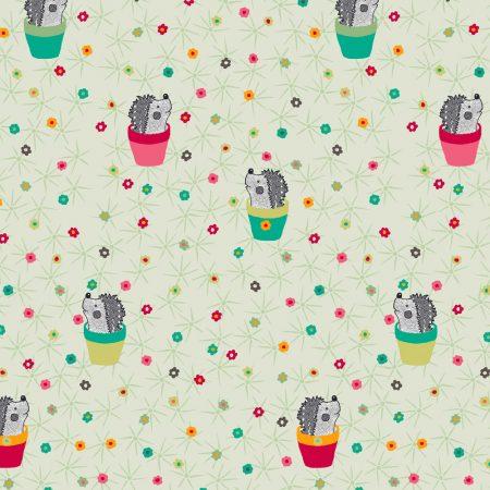Quiltstof katoen Egeltjes 4500-504. Merk: Stoffabrics. Serie: Cactuslife.