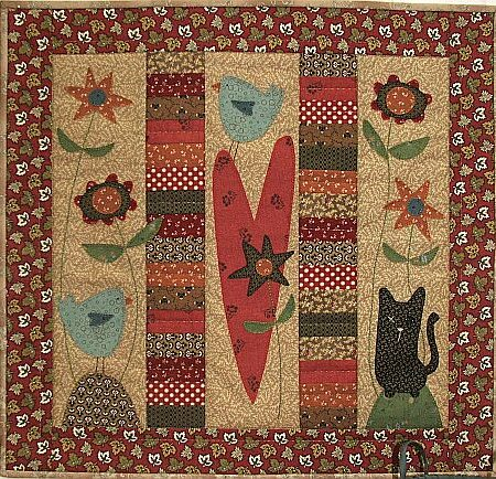 The Birdhouse Quiltpatroon Old Cat & Friends. Patronen op ware grootte