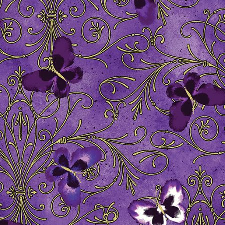 Quiltstof katoen Pansy Butterfly Scroll metallic 8748M66 goud metallic
