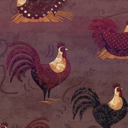 Quiltstof katoen kippen en hanen KC 115. Merk: Clothworks Fabrics