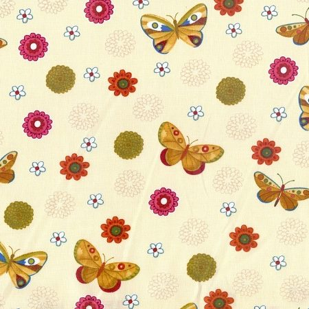 Quiltstof katoen vlinder met bloemen KC 051. Merk: Clothworks Fabrics.