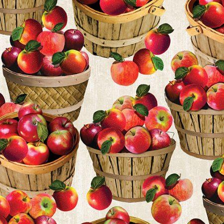 Quiltstof. Merk: Benartex. Serie: Apple Gala. Appels in mand
