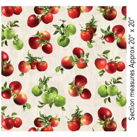 Quiltstof. Merk: Benartex. Serie: Apple Gala. Tossed apples. Tros appels