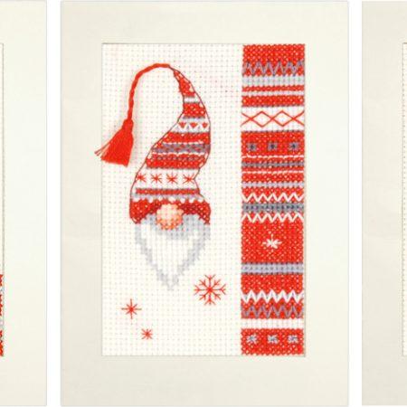Vervaco Borduurpakket Aida set van 3 kerstkaarten PN-0157032