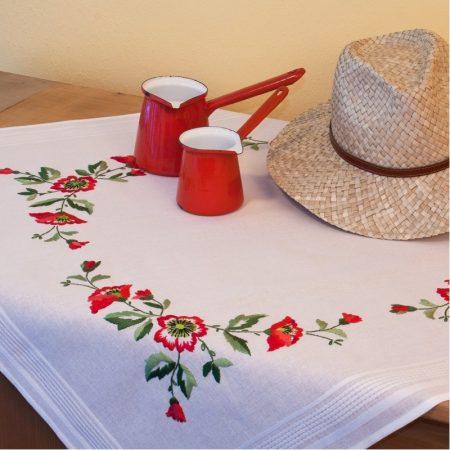 Deco-line tafelkleed voorbedrukt katoen 1288. U borduurt bloemmotieven