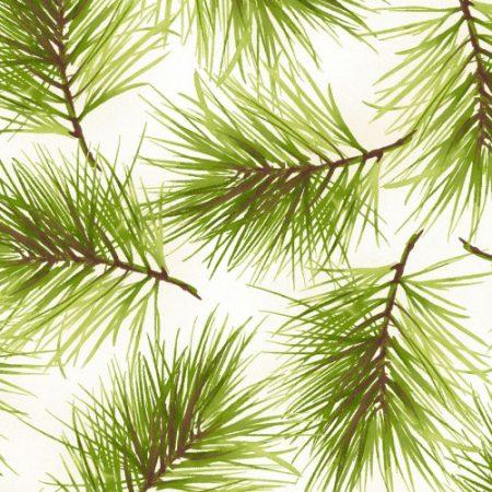 Quiltstof. Katoen. Maywood Studio. Serie Poinsettia & Pine. Dennenaalden