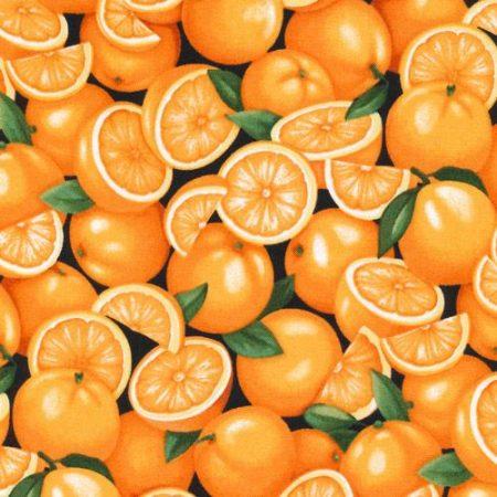 Quiltstof. Merk: Paintbrush Studio. 100% katoen. Onderwerp: Sinaasappels