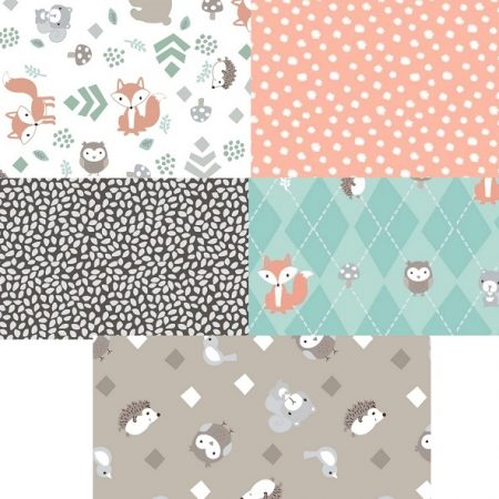 Fat quarter quiltstofpakket Little Forest. Vijf quiltstoflapjes