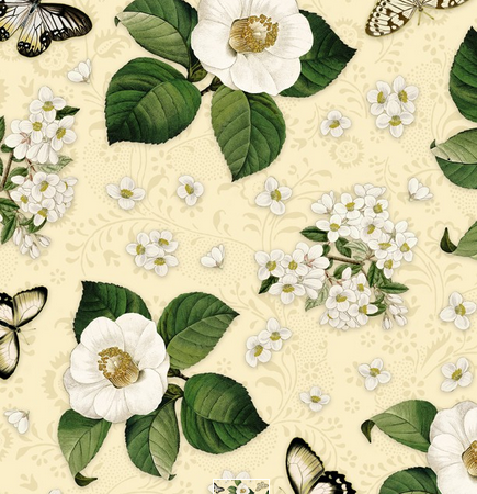 Quiltstof. Katoen. Wilmington Prints. Serie: Chantrell. Magmolia's + vlinders