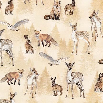 Quiltstof. Katoen. Robert Kaufmann. Serie: Animal Kingdom. Bosdieren