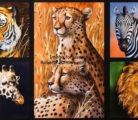Quiltstof. Katoen. Robert Kaufmann. Nature Studies. Wilde dieren Afrika.