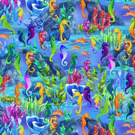 Quiltstof. Katoen. Timeless Treasures. Serie: Sea. Titel: Zeepaardjes