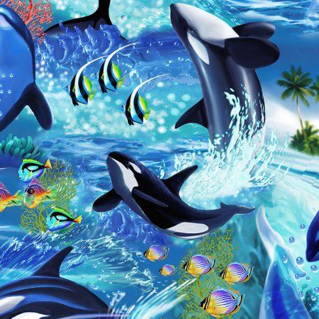 Quiltstof. Katoen. Timeless Treasures. Serie: Wave. Onderwerp: Orca's