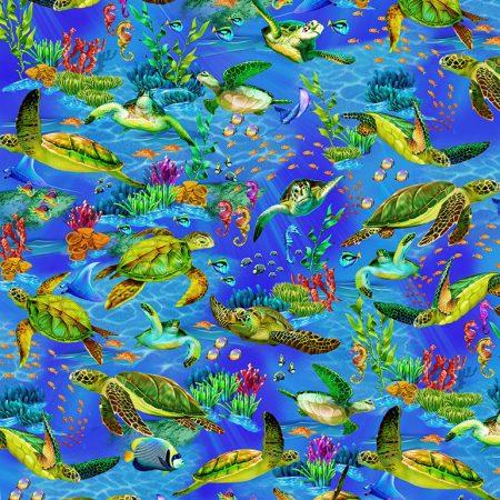 Quiltstof. Katoen. Timeless Treasures. Serie: Ocean. Zeeschildpadden