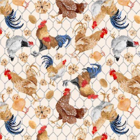 Quiltstof. 100% katoen. Merk: Blank Quilting. Chicken Scratch. Kippen