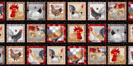 Quiltstof. 100% katoen. Merk: Blank Quilting. Chicken Scratch. Panel Kip