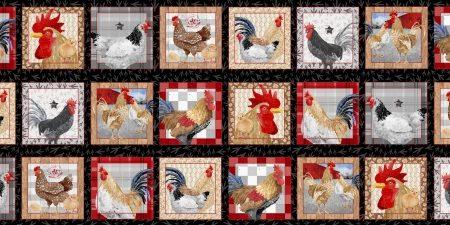 Quiltstof. 100% katoen. Merk: Blank Quilting. Chicken Scratch. Panel Kip