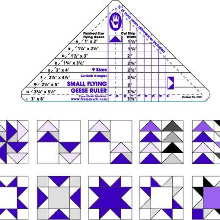 Liniaal Ruler van het merk Marti Michell. Small Flying Geese Ruler 8705
