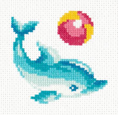 Borduurpakket voor beginner. Merk: Chudo Igla. Onderwerp: Dolfijn.