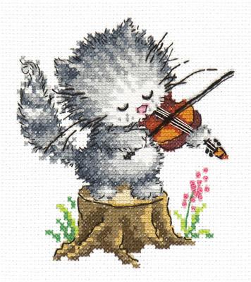 Borduurpakket voor beginner. Chudo Igla. Onderwerp: Poesje met viool.