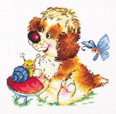 Borduurpakket voor beginner. Chudo Igla. Onderwerp: Puppy met slak.