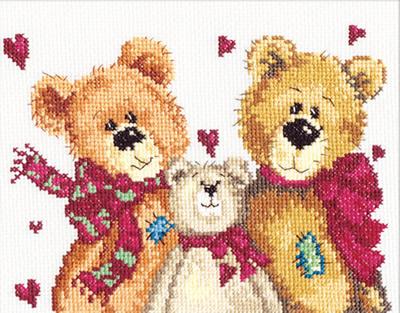 Borduurpakket voor beginner. Chudo Igla. Onderwerp: Een beren gezin.