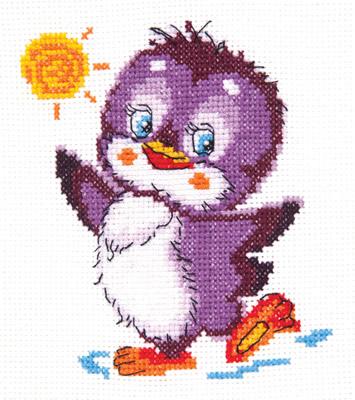 Beginner borduurpakket. Chudo Igla. Onderwerp: Een dansende pinguin.