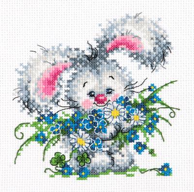 Borduurpakket voor beginner. Chudo Igla. Onderwerp: Lief vrolijk konijntje.