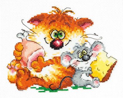 Borduurpakket voor beginner. Chudo Igla. Onderwerp: Kat en muis.