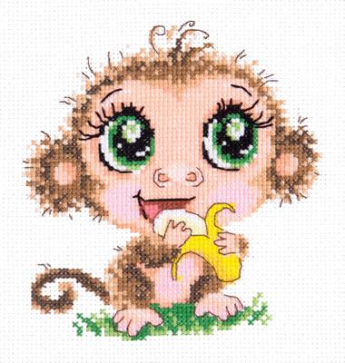 Borduurpakket voor beginner. Merk: Chudo Igla. Onderwerp: Baby aapje.