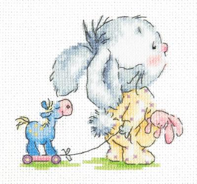Beginner borduurpakket. Chudo Igla. Onderwerp: Konijn met trekpaard.