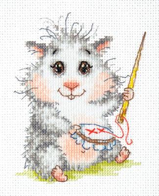 Beginner borduurpakket. Chudo Igla. Onderwerp: Een bordurende hamster