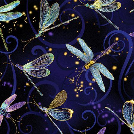 Quiltstof. 100% katoen. Merk: Benartex Kanvas. Libelles blauw metallic.