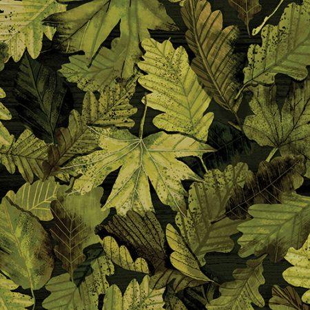 Quiltstof. 100% katoen. Merk: Benartex Kanvas. Groene boombladeren.