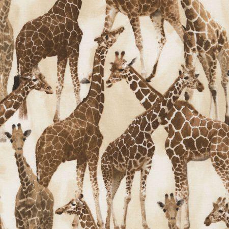 Quiltstof. 100% katoen. Merk: Timeless Treasures. Wild Tan. Giraffes