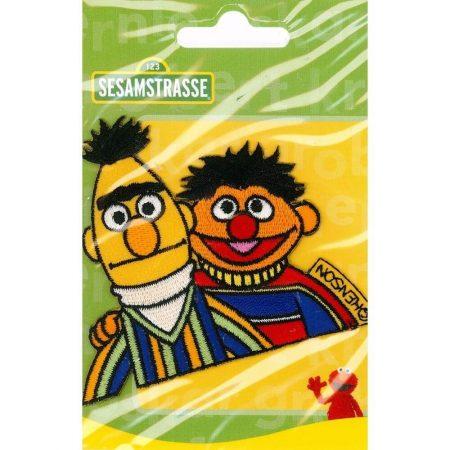 Strijkapplicatie. Sesamstraat. Geborduurd. Bert en Ernie samen.