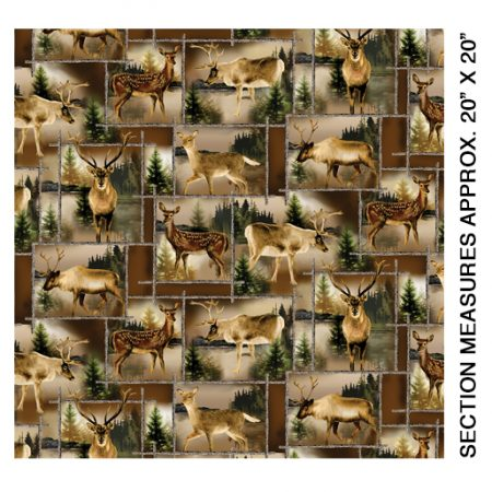 Quiltstof. 100% katoen. Merk: Kanvas.Lodge Life. Scenic Deer Patch.