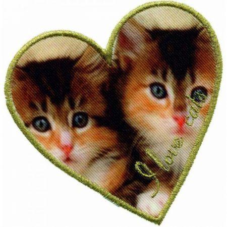 Strijkapplicatie. Geprint met geborduurde tekst. I Love Cats 32744