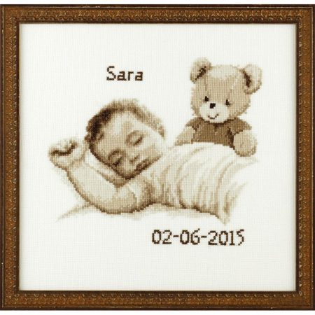 Pako borduurpakket geboortetegel aida baby 225283