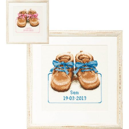 Pako borduurpakket geboortetegel aida schoentjes 225285