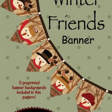 Quiltpatroon. All Through the Night. Winter Friends Banner.