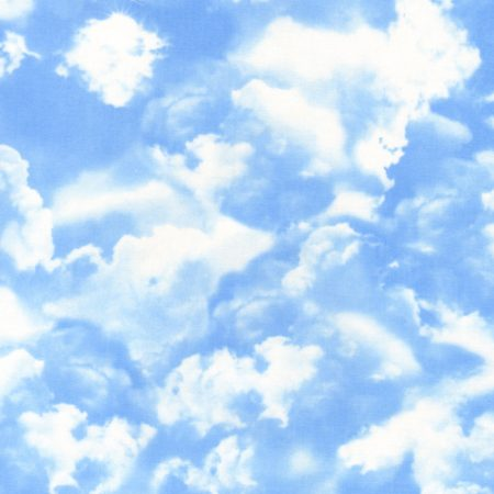 Quiltstof. 100% katoen. Merk: Timeless Treasures. Gail. Blue. Wolken.