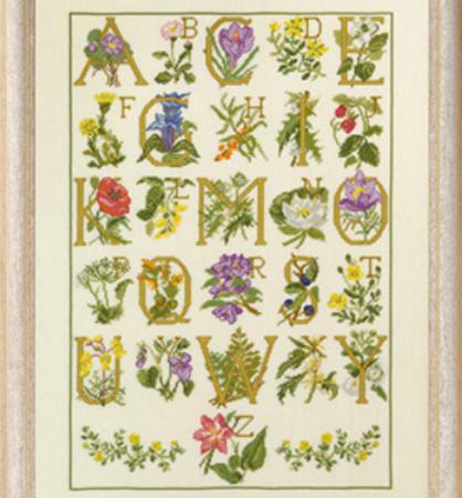Borduurpakket. Bloemen Alfabet. Merk: Permin. Kruissteek met bloemen.