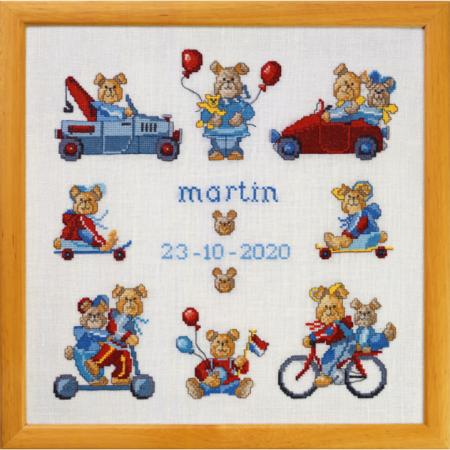 Permin Borduurpakket linnen Geboortetegel Martin. Mooi borduurpakket