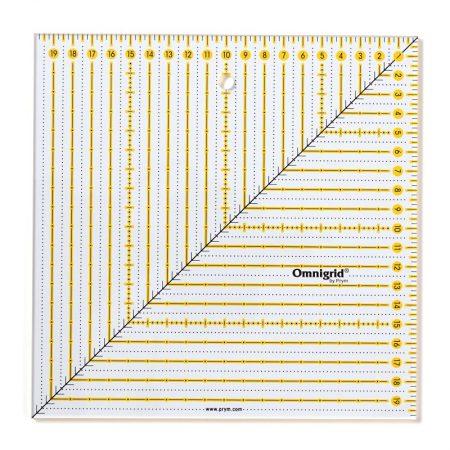 Omnigrid liniaal. Merk: Prym. Afmetingen: 6 x 6 inch