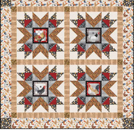 Gratis quiltpatroon Chicken Scratch. Een leuk patroon voor een kippenquilt.