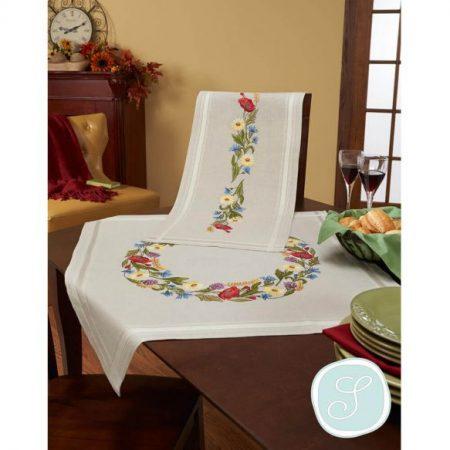 Simy's Studio tafelloper voorbedrukt linnen katoen 07065-DB0048