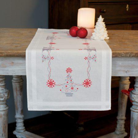Vervaco kerst tafelloper voorbedrukt 0167023. Boduurpakket